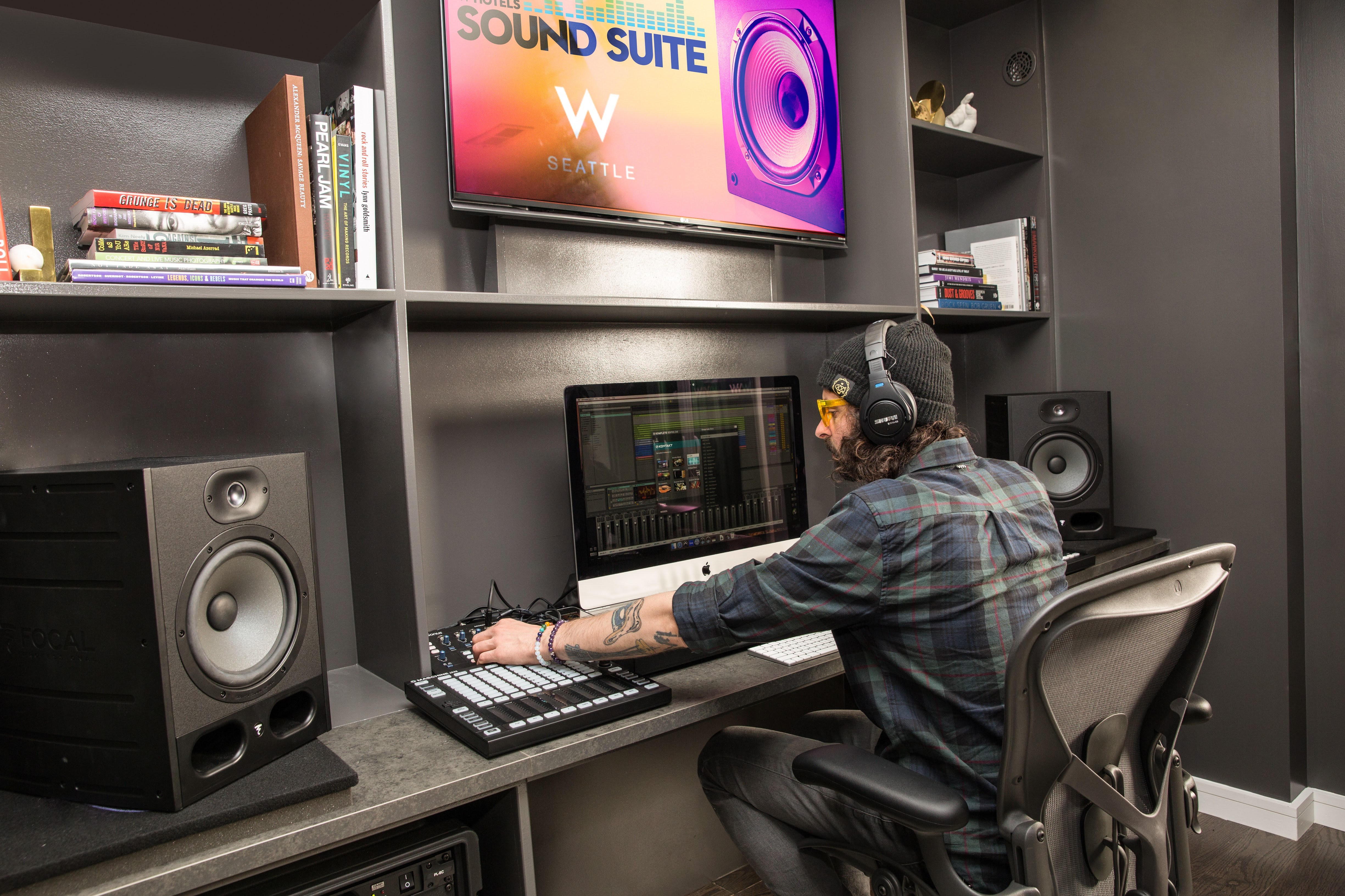 On Tuesday, April 18th, W Seattle unveiled the first W Sound Suite in North America! The private studio is fit for a traveling musician or producer who finds inspiration on the road. The fully equipped music studio has a writer's room and offers a retreat for artists to write and record. Hotel guests are also able to book the studio to play with their equipment and live out their rockstar dream! (Image: Jean Marcus Strole Photography/W Seattle)