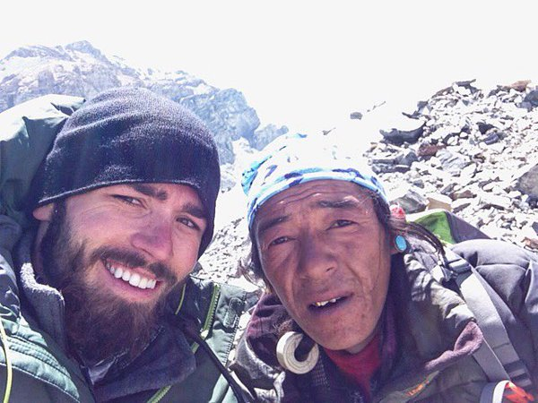 Tommy Ferguson took an eight-hour trek from advanced base camp back to base camp and rested with this sherpa he met along the way.