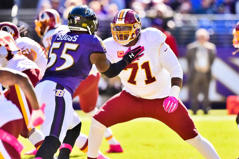 Trent Williams (#71) is an offensive tackle for the Washington Redskins. Williams was drafted fourth overall in the 2010 draft by the Redskins and has been a co-captain since the 2011 season. He is a five-time Pro Bowler, and  was ranked 45th on the NFL Top 100 Players of 2016 despite a four-game suspension for the season. (Image: Garrett Campbell/ Washington Redskins)