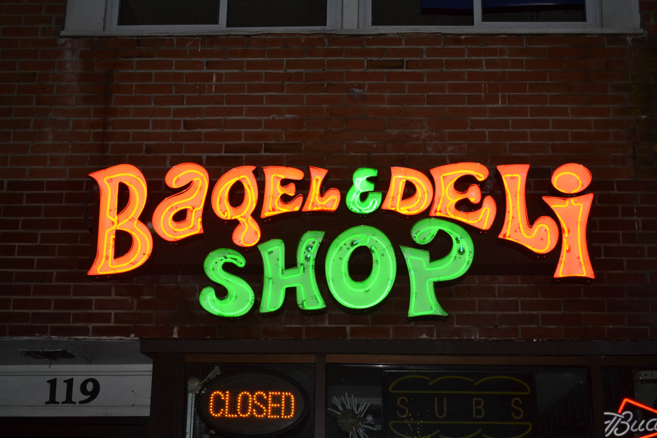 "PLACE: Bagel & Deli / ADDRESS: 119 E High St, Oxford (45056) / Bagel & Deli is a casual eatery on High Street offering more than 90 steamed bagel sandwiches on their hand-drawn menu, such as the famous ""Crunch n' Munch"" topped with Doritos chips; the ""Cookie Monster"" with cream cheese, cinnamon, and a chocolate chip cookie; and the ""Just a Bagel,"" which is exactly what you think it is. Their sandwiches range between $5-10. / Image courtesy of Bagel & Deli // Published: 8.2.19"