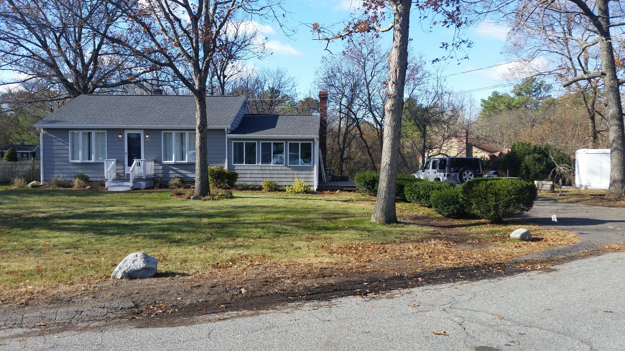The home in Blackstone, Mass. where an explosive device damaged a car Thursday night.<p></p>