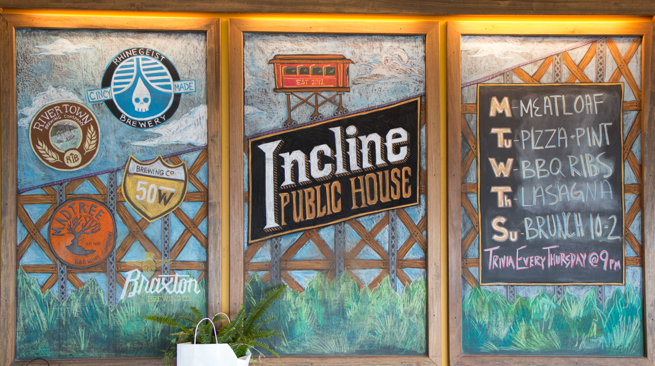 Incline Public House (IPH) is named for the rail-based inclines that once carried streetcars up the side of Price Hill from 1874-1943. Back then, the Price Hill House sat at the top of the hill to serve riders a meal when they reached the summit. It operated until the 1930s. Today, IPH sits in the same spot, continuing to provide its guests with good food and panoramic views of Cincinnati. ADDRESS: 2601 Eighth Street West (45204) / Image: Catherine Viox // Published: 10.17.18