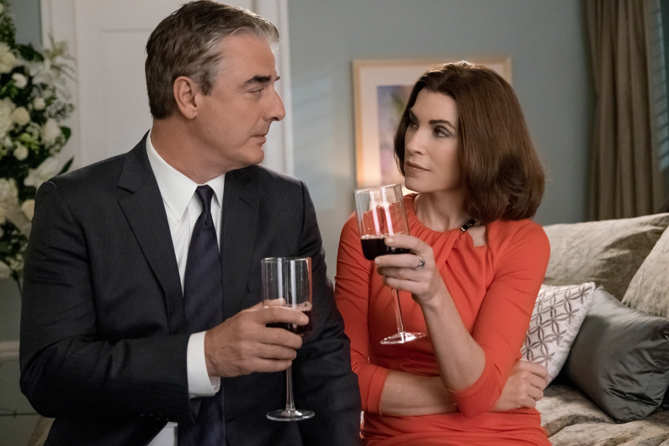 "In this image released by CBS, Chris Noth portrays Peter Florrick, left, and Julianna Margulies portrays Alicia Florrick in a scene from ""The Good Wife."" After seven seasons, CBS will air the series finale on Sunday. (Jeff Neumann/CBS via AP)"