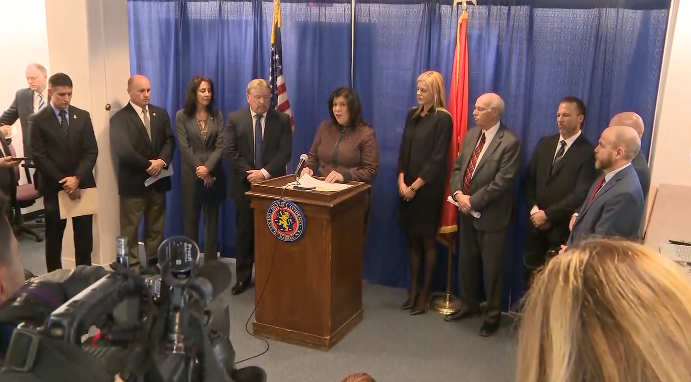 Indictments are handed out for 17 alleged members of the MS-13 gang; on hand at the press conference in New York is Bedford County Commonwealth Attorney Wes Nance, located the first from the right (CNN Newsource)<p></p>