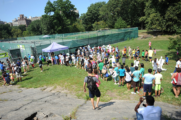 NEW YORK, NY - AUGUST 28:  A general overview of the LACOSTE And City Parks Foundation Host Tennis Clinic In Central Park at Central Park Tennis Center on August 28, 2016 in New York City.  (Photo by Brad Barket/Getty Images for LACOSTE)