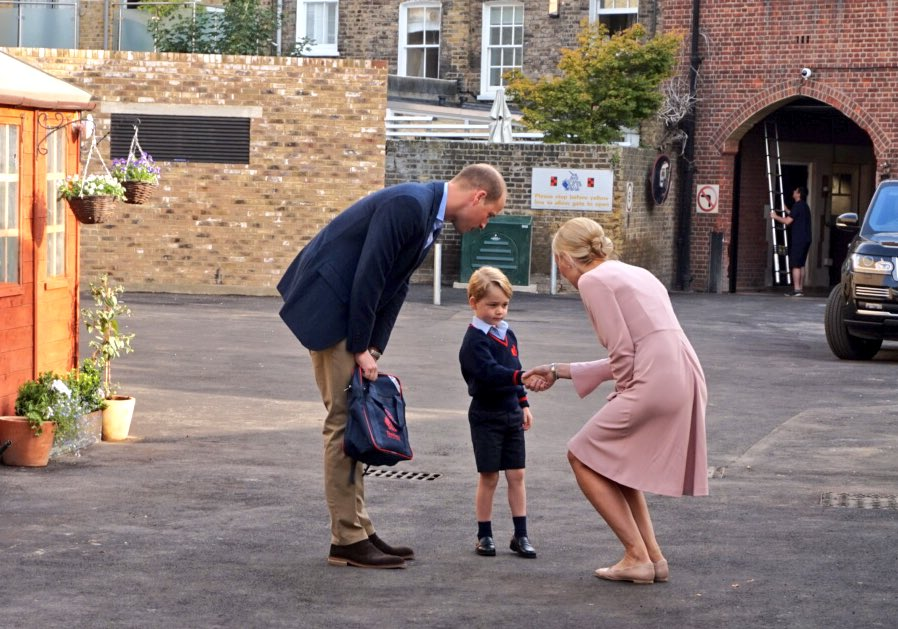 Prince George went to school for the first time Thursday, but it was a rite of passage missed by his mother, who is struggling with acute morning sickness in the early stages of her third pregnancy. (Kensington Palace)