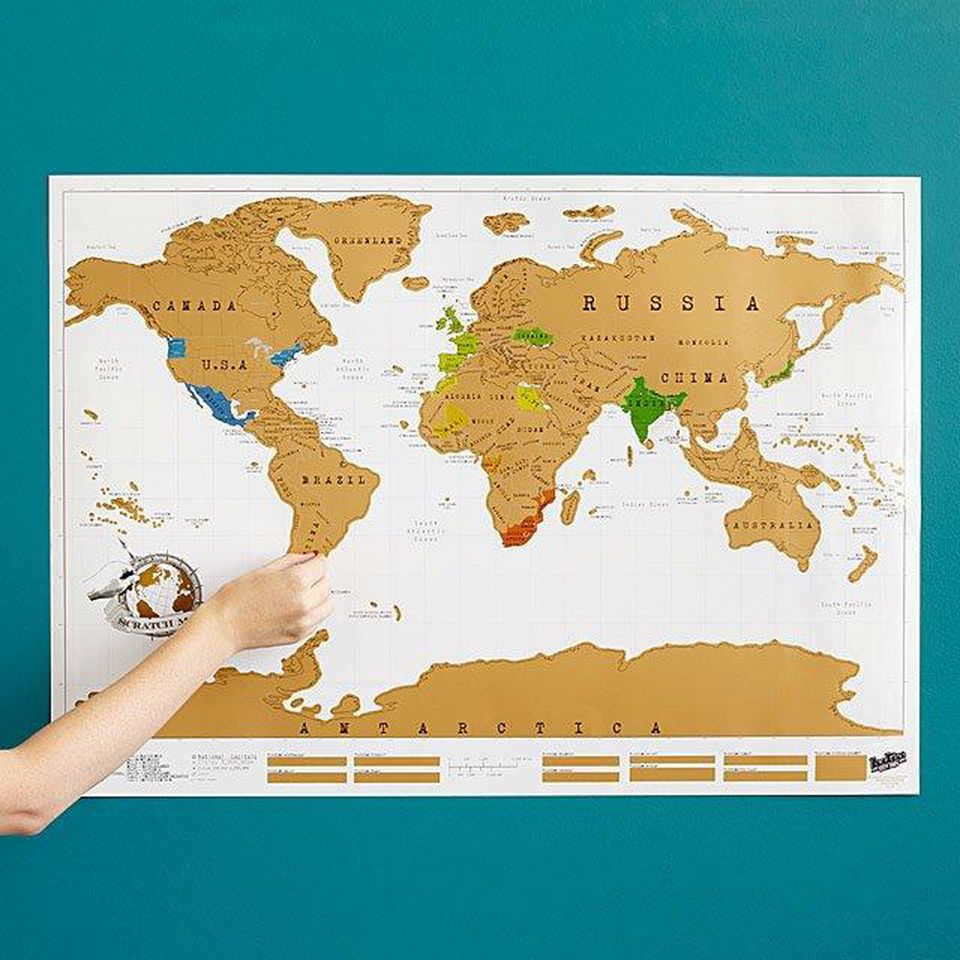 This scratch map will help dad remember all the places he's visited. The UncommonGoods Scratch Map is available now for $26 (Image: UncommonGoods)