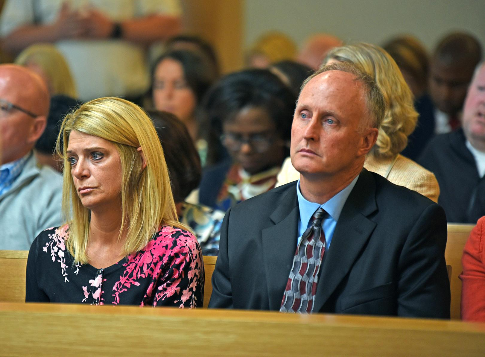 Michelle Carter's parents listen to Judge Lawrence Moniz before he announces his verdict on Friday, June 6, 2017, in Bristol Juvenile Court in Taunton, Mass. Michell Carter was found guilty of involuntary manslaughter in the suicide of Conrad Roy III. (Glenn C.  Silva/Fairhaven Neighborhood News, Pool)