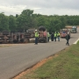 Driver of concrete truck extricated following rollover