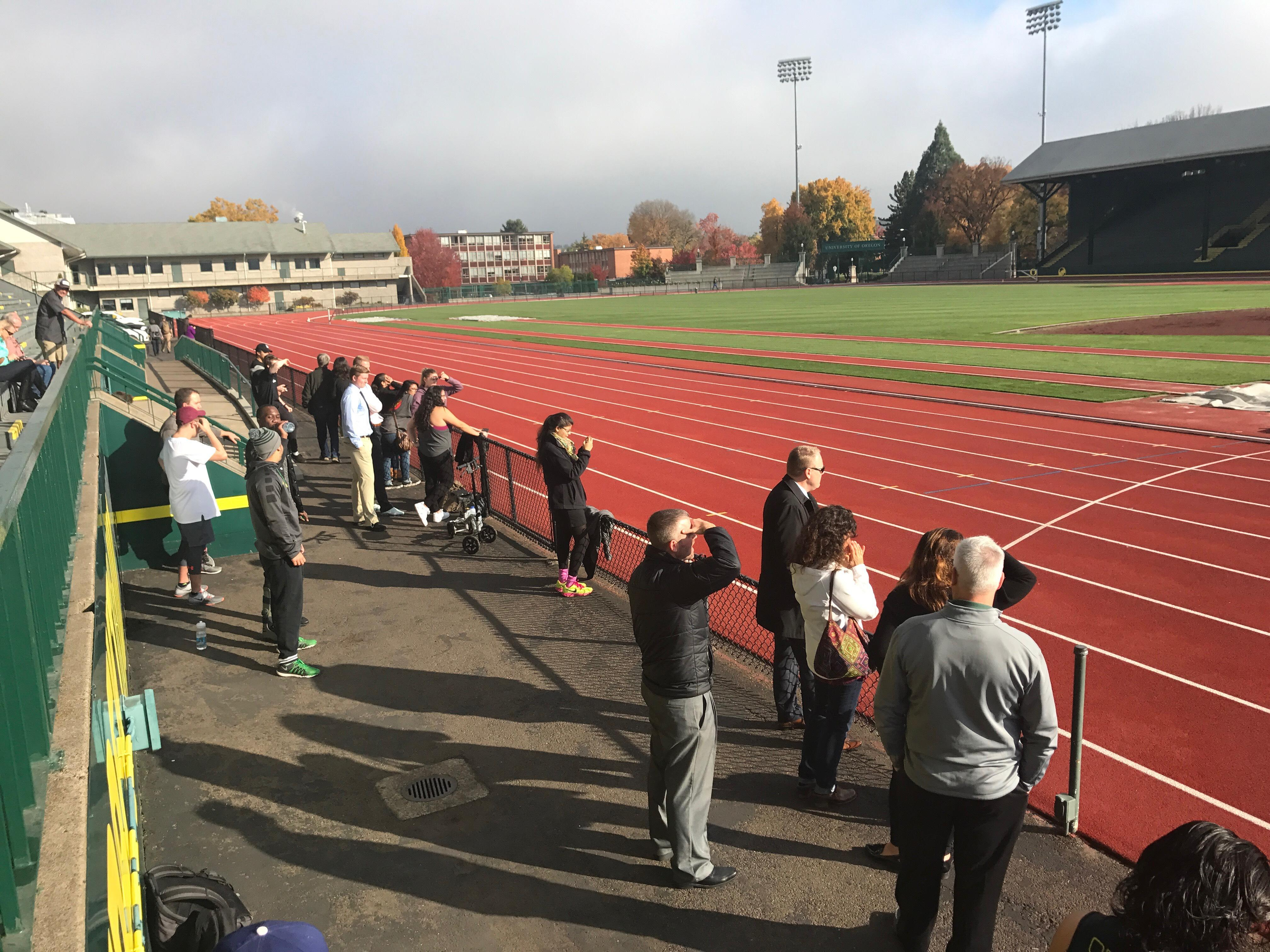 Spectators view the first ever Quack Track Pitch on October 27th, 2017. at Hayward Field in Eugene, Ore.{&amp;nbsp;}{&amp;nbsp;}<p></p>