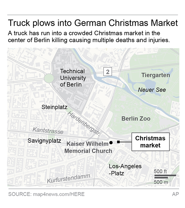 Map locates Christmas market where the truck attack happened; 2c x 4 inches; 96.3 mm x 101 mm. (AP)