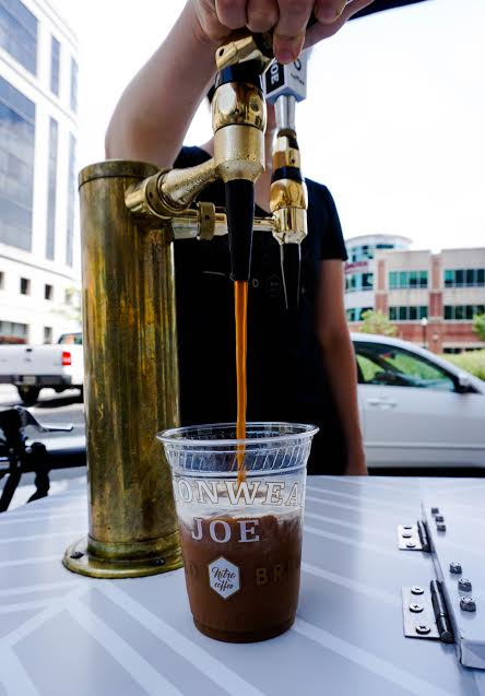 The custom-built fleet of three bikes were serving nitrogen-pressurized, cold-brewed coffee out of brass stout taps to different neighborhoods in Arlington all summer long. (Image: Courtesy Commonwealth Joe)