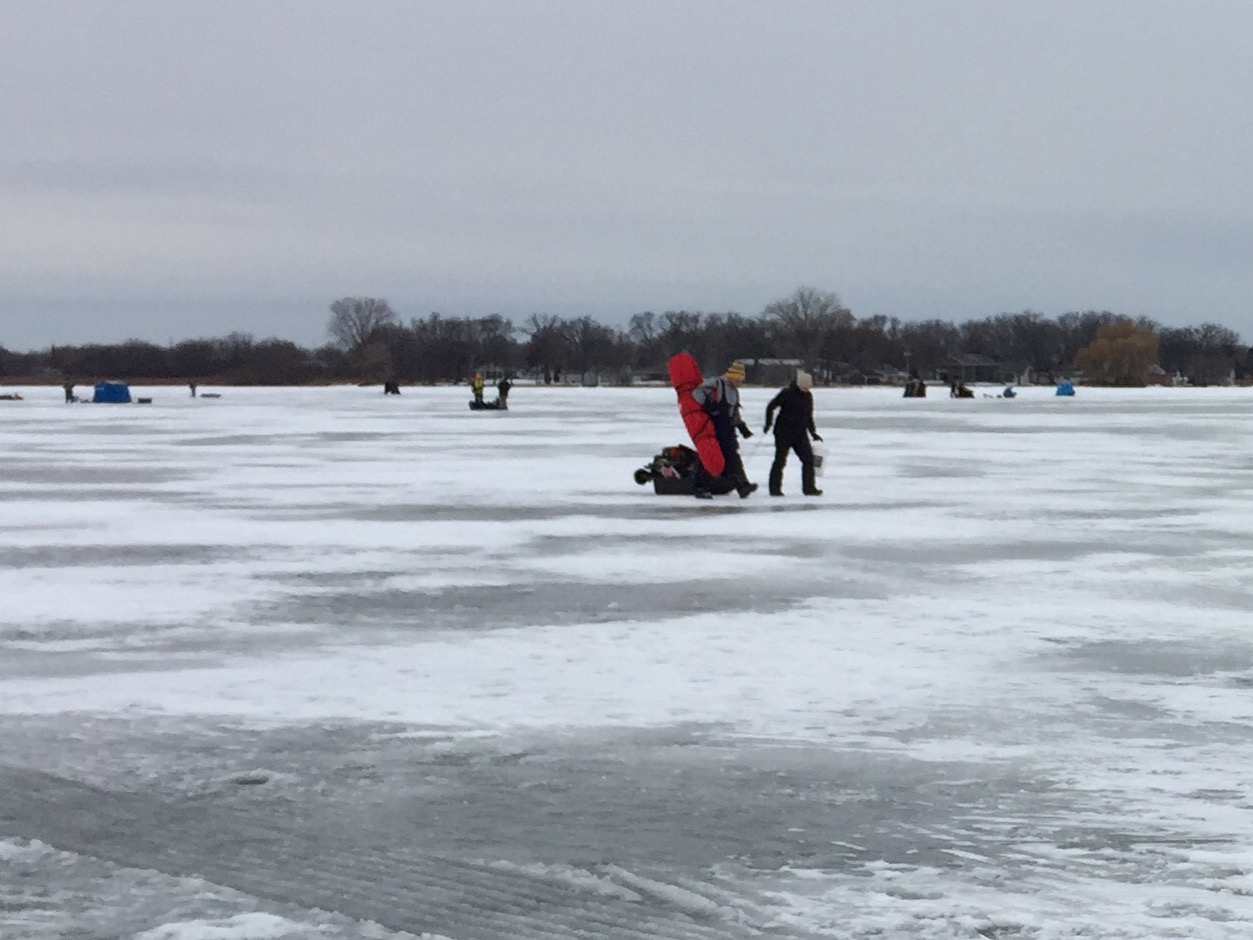 Ice fishermen on Asylum Bay on Lake Winnebago, December 20, 2017 (WLUK/Eric Peterson)