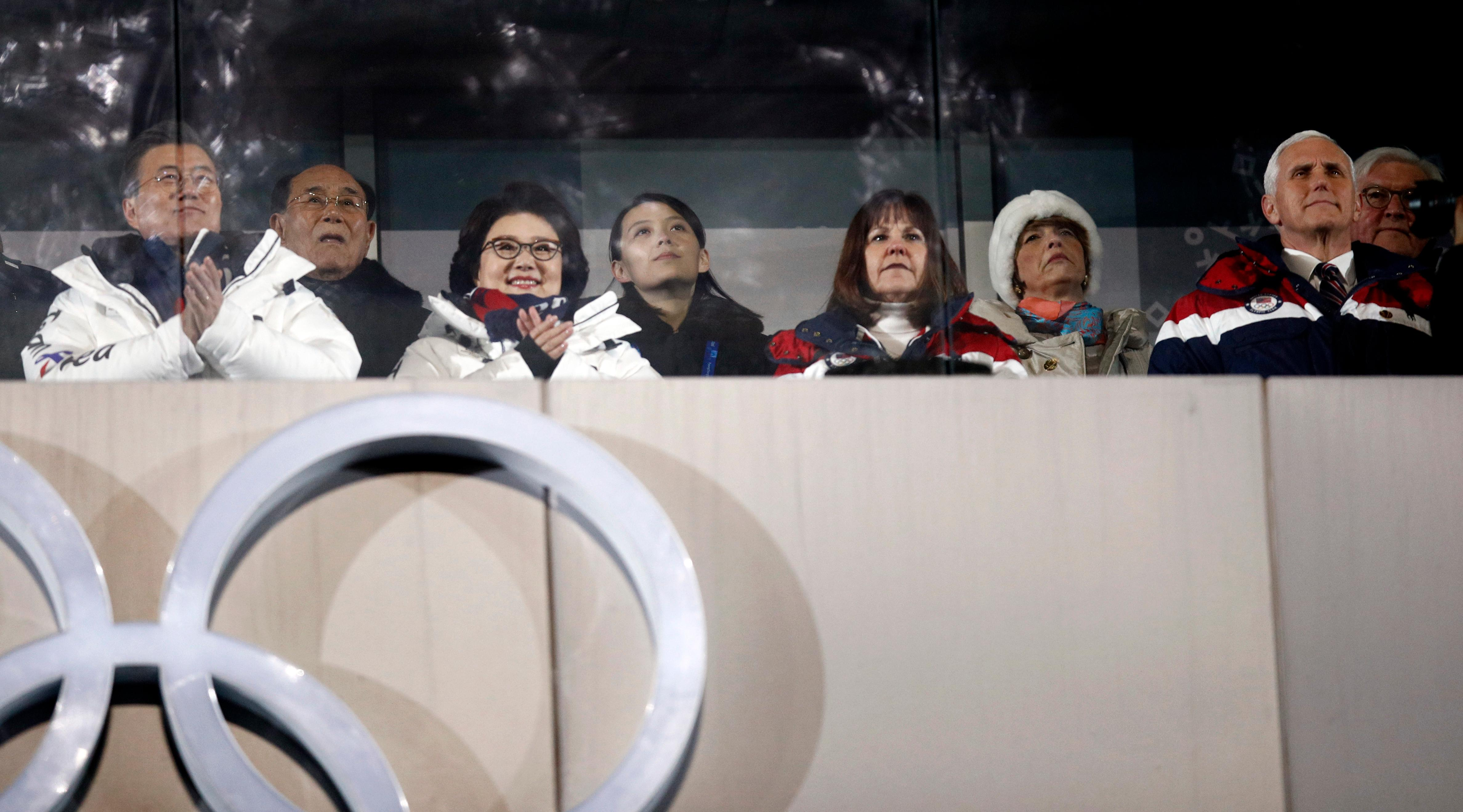 Kim Yong Nam, president of the Presidium of the North's Parliament, second from left in the back, and Kim Jong Un's sister Kim Yo Jong, center, observe with South Korean President Moon Jae-in, front left, first lady Kim Jung-sook,  second lady Karen Pence, and United States Vice President Mike Pence during the opening ceremony of the 2018 Winter Olympics in Pyeongchang, South Korea, Friday, Feb. 9, 2018. (AP Photo/Jae C. Hong)