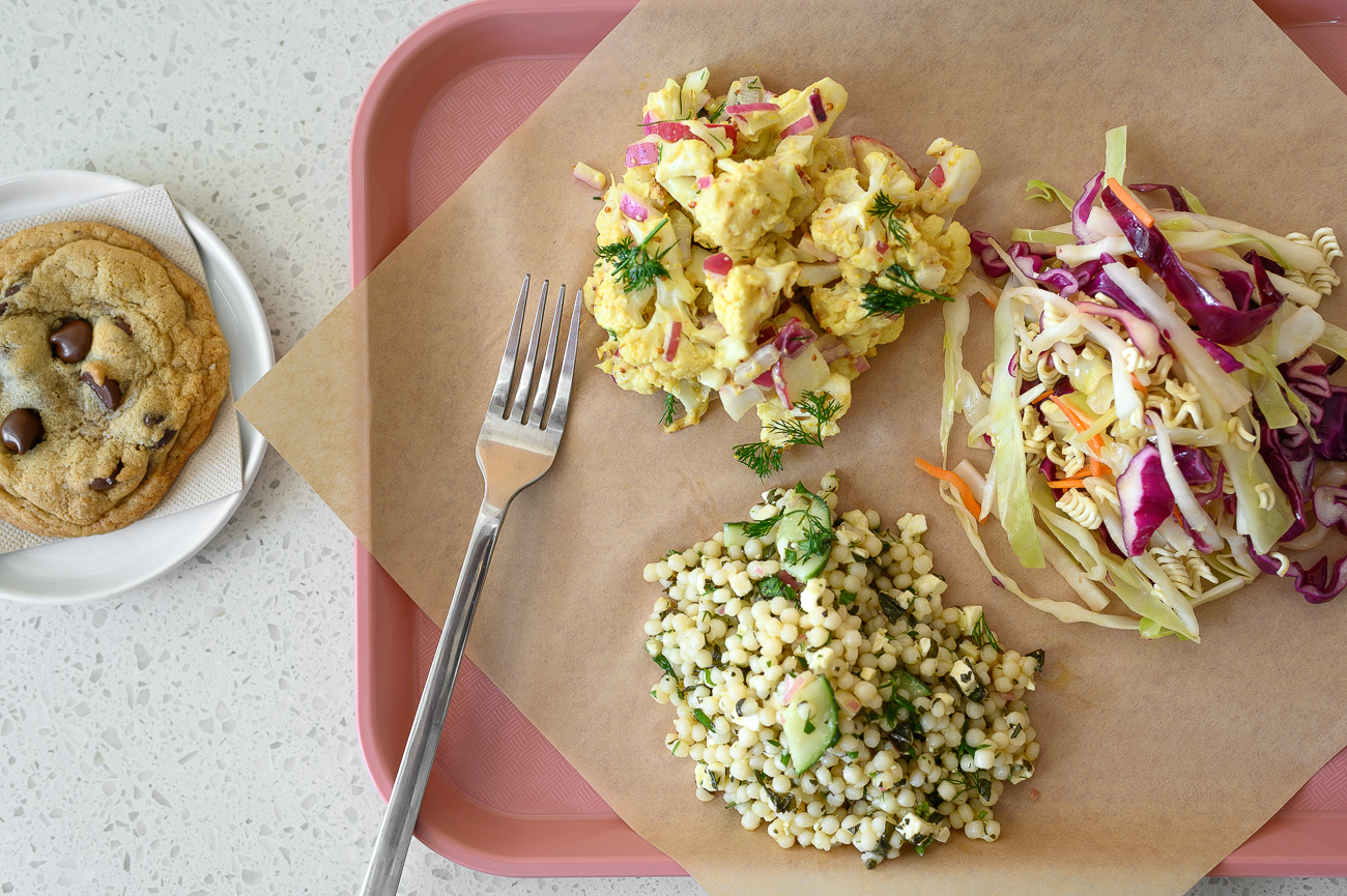 Curried cauliflower, Asian slaw, and herby couscous (with a cookie) / Image: Phil Armstrong, Cincinnati Refined // Published: 8.30.19