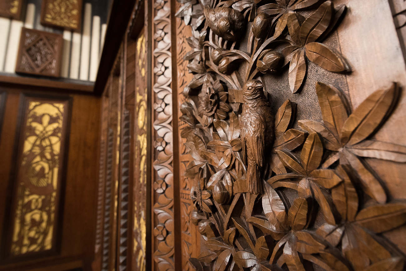 Decorative, wood-carved panels from Music Hall's original organ (1878) hang on three walls inside the Taft Suite. The organ lasted nearly 100 years before being dismantled in 1971 to make way for a new electronic organ. The panels were preserved, and the public took notice of them again in 2011 when the Society for the Preservation of Music Hall collected and restored them.{ }/ Image: Phil Armstrong, Cincinnati Refined // Published: 11.11.17