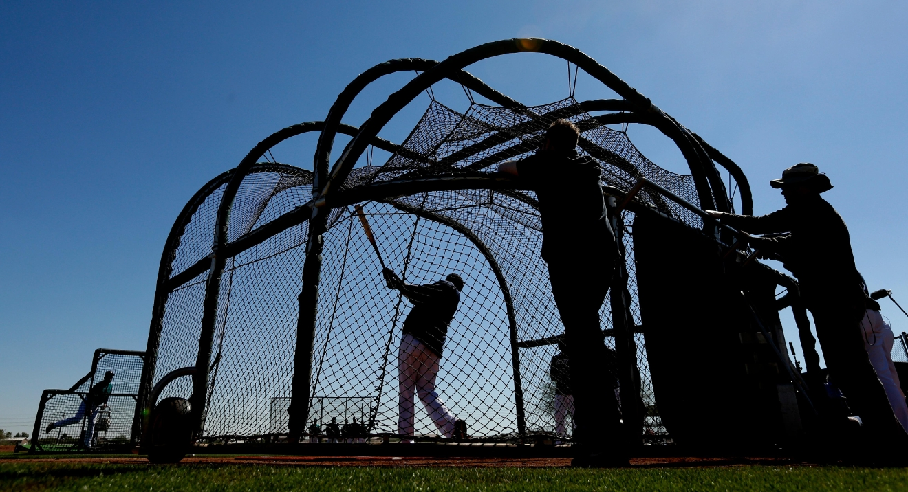 Seattle Mariners' Nelson Cruz has batting practice during spring training baseball practice Tuesday, Feb. 21, 2017, in Peoria, Ariz. (AP Photo/Charlie Riedel)
