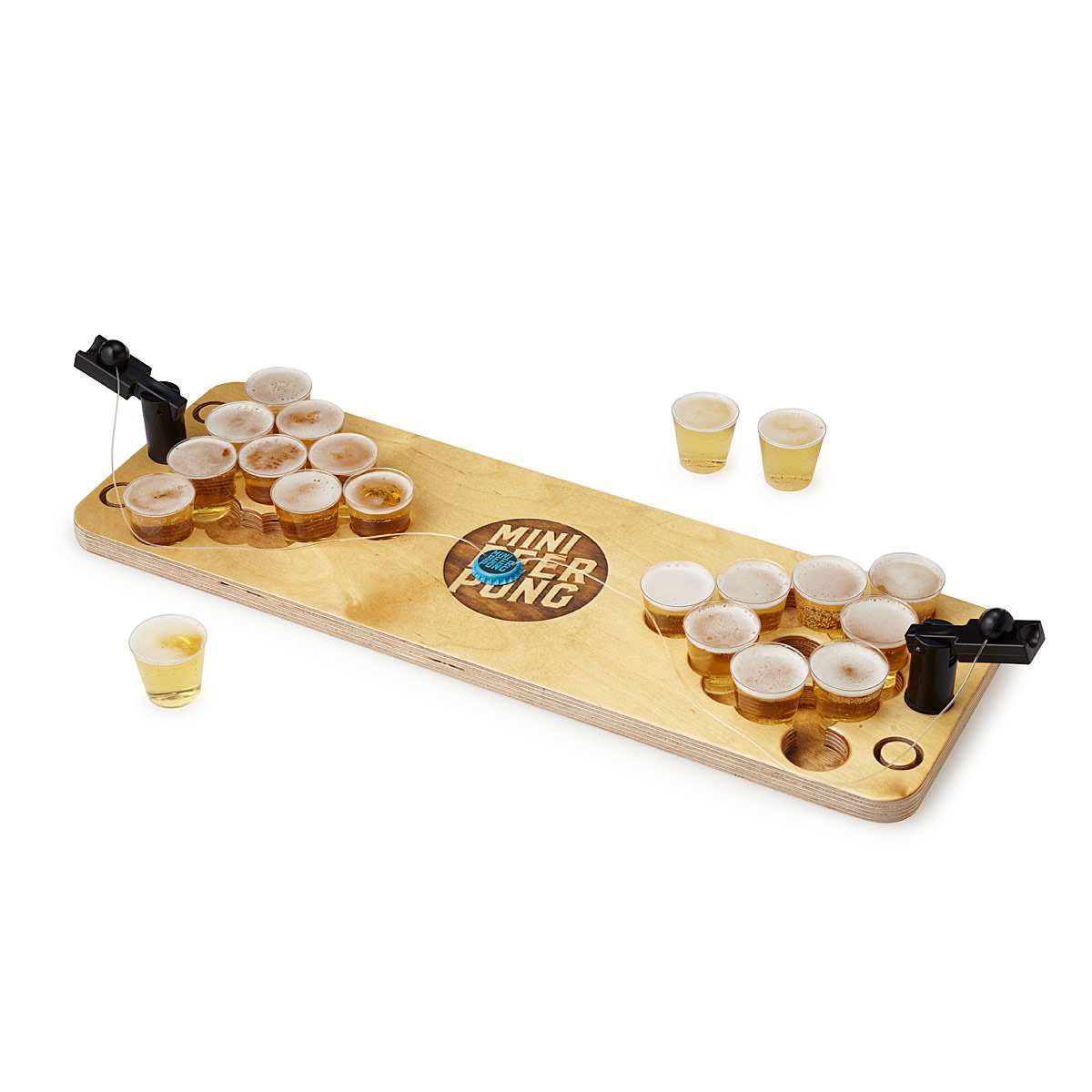 YASSSSS, take that man back to his college days with this Mini Beer Pong. A dorm room classic grows up in this mini version of beer pong that sports catapults and a birch wood base. $60.00  (Image: Uncommongoods)
