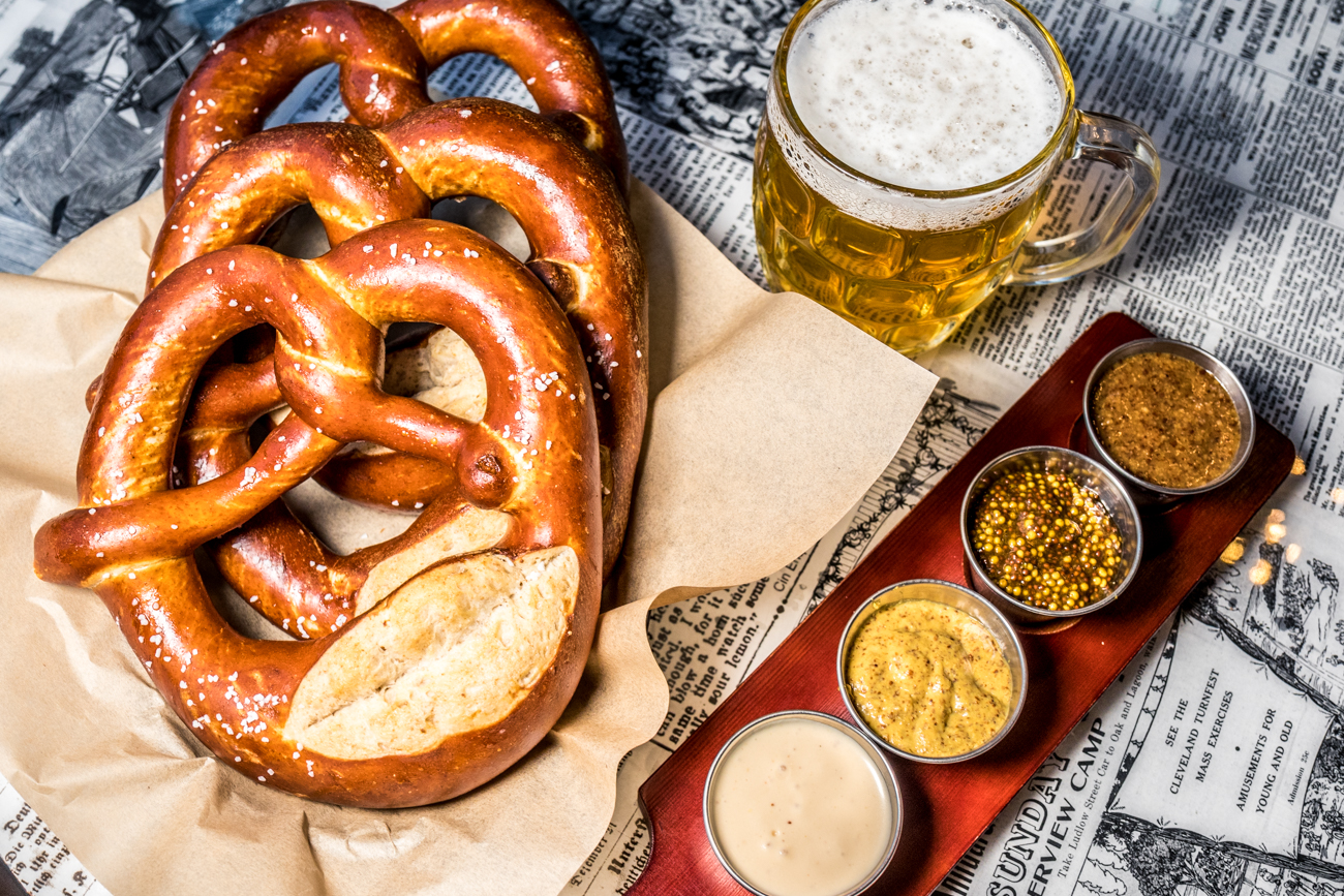 Swabian-style sourdough pretzels with a flight of mustards with beer cheese / Image: Catherine Viox{ }// Published: 12.17.19