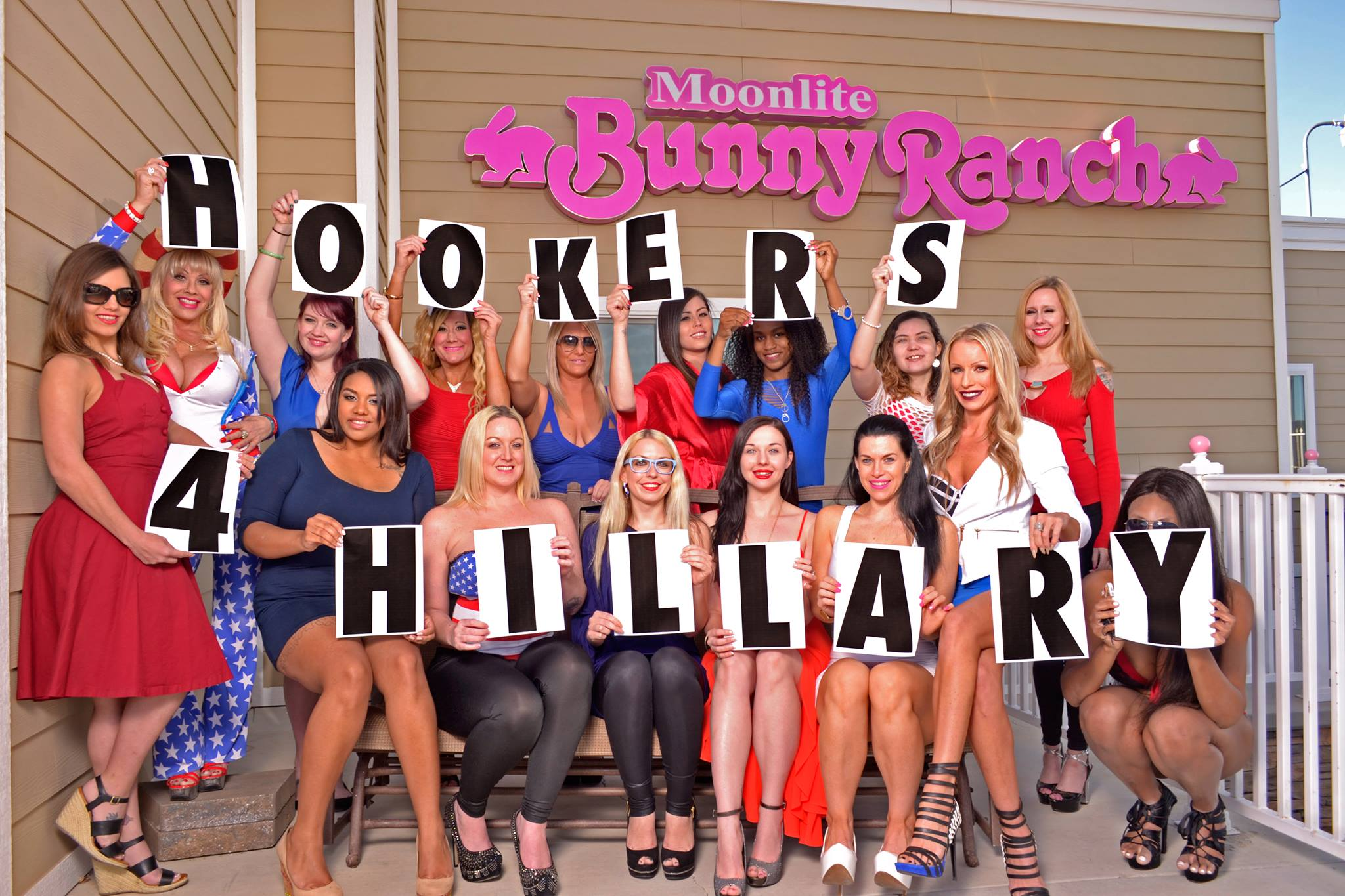 Hookers 4 Hillary members pose outside the Moonlite Bunny Ranch in Carson City, Nev. (Hookers 4 Hillary)