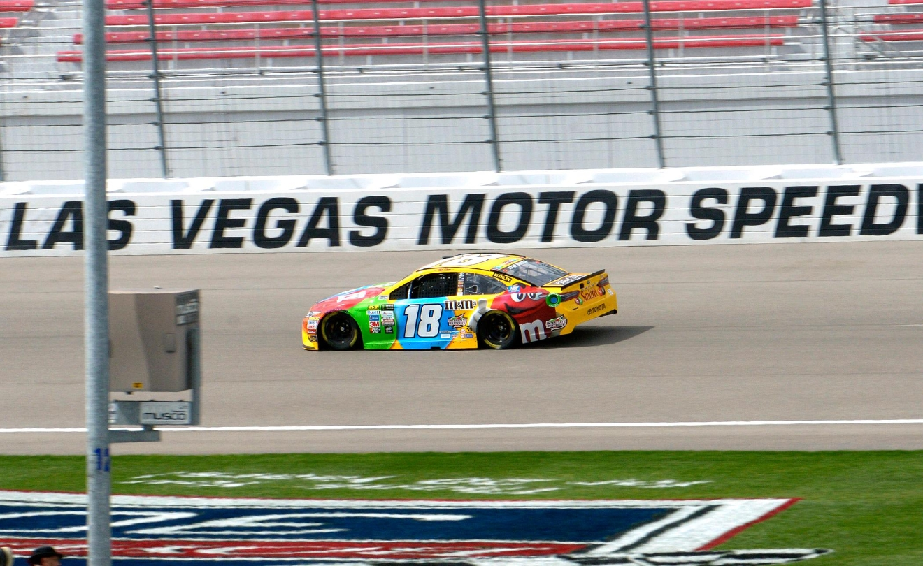#18 Kyle Busch on the track during NASCAR Stratosphere Pole Day at Las Vegas Motor Speedway. Friday, March 10, 2017. (Glenn Pinkerton/Las Vegas News Bureau)