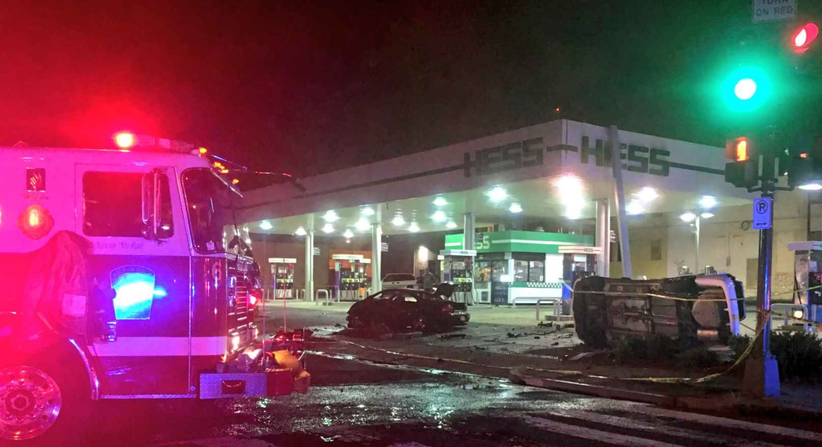 A fiery crash at a gas station in D.C. left one dead and one seriously injured. (Photo, D.C. Fire Department)