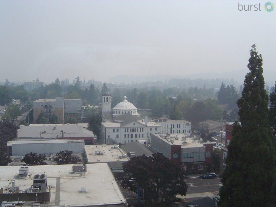 Deborah A. Jones shared this photo of smoke over Eugene on Monday, August 28, via BURST.com/KVAL.