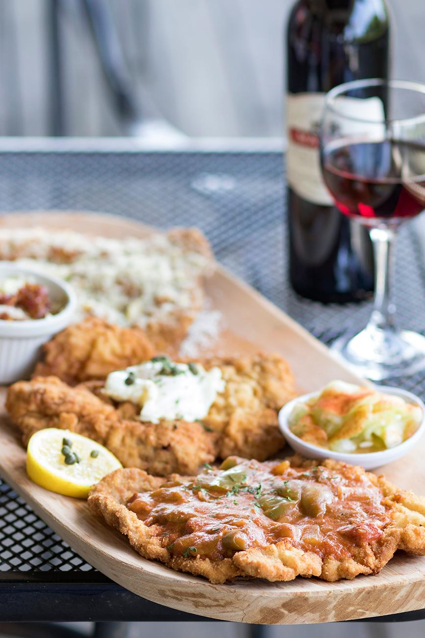 <p>Schnitzel plate with the Italian, Holstein, and Creole / Image: Allison McAdams // Published: 7.26.18</p>