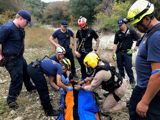 The Austin Fire Department and  Austin-Travis County EMS say multiple units responded to extricate a fall victim from Barton Creek Greenbelt near 3800 S. Lamar. (Photo courtesy: Austin-Travis County EMS)