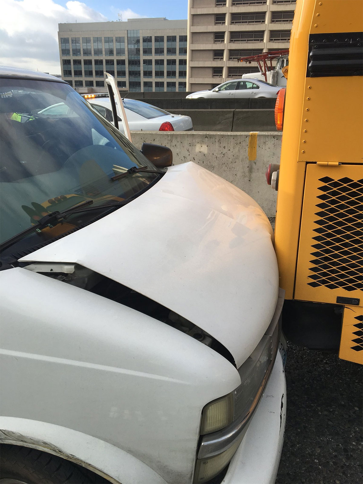 A school bus was rammed on Interstate 5 in Seattle. No children were hurt. Two people were arrestedWash. State Patrol photo