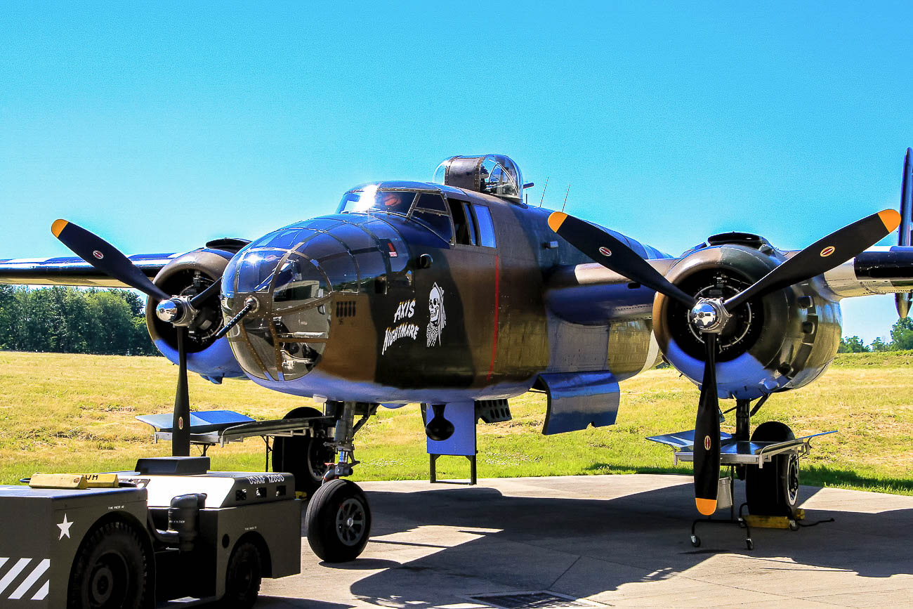 "The B-25 was known as ""Axis Nightmare,"" before being transformed into ""Yankee Doodle"" for Hulu's Catch-22. / Image: Ernie Muller // Published: 10.15.19"