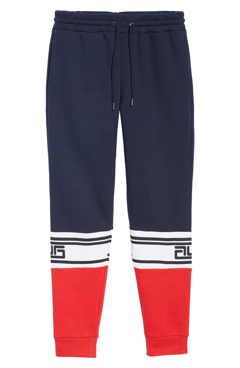 FILA Tricolor Jogger Pants, $50.{ }The men in our lives work hard! Gift them something they'll feel appreciated in this holiday season! (Image courtesy of Nordstrom).
