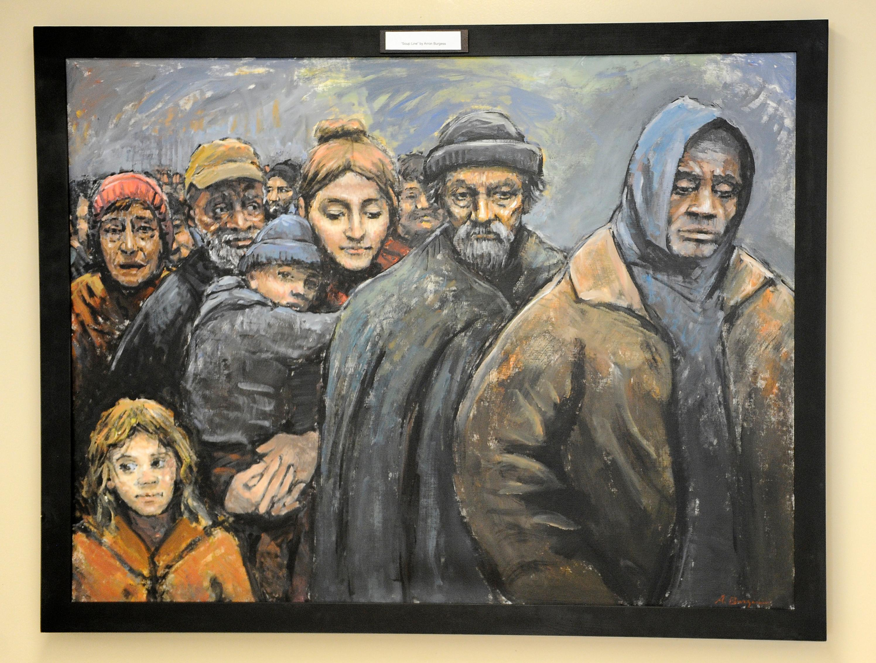 "Aaron Hansen Burgess' painting ""Soup Line"" hangs at the First Presbyterian Church.{ }Andy Atkinson / Daily Tidings"