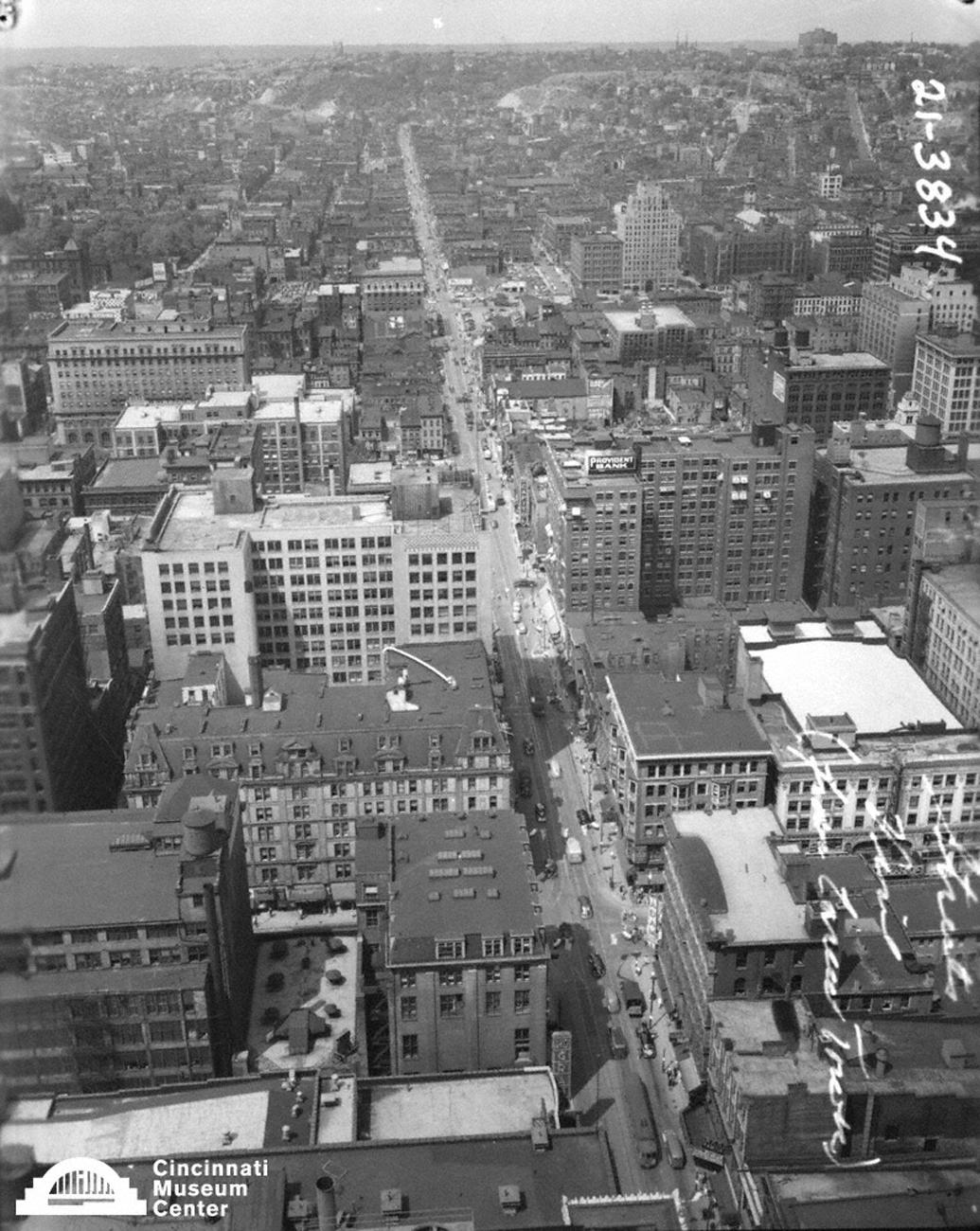 Looking north up Vine Street as seen from atop the Carew Tower sometime in the early 20th Century / Image: Paul Briol, accessed via the Cincinnati Museum Center History Library and Archives // Published: 2.16.19