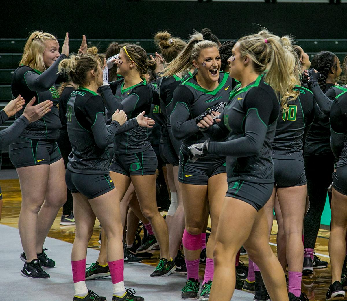The Oregon Ducks Acro and Tumbling team defeated Hawaii Pacific in their second meet of the season and their first home meet with a score of 280.10 to 267.595. The Ducks won all six categories: 38.45 to 38.30 in compulsory; 29.55 to 28.55 in acro; 29.50 to 28.40 in pyramid; 29.10 to 27.50 in toss; 56.30 to 54.075 in tumbling; and 97.20 to 90.77 in team. The Ducks next face off against their arch rivals the Baylor Bears at Baylor February 24 and then return to Matt Knight Arena for a Tri Meet against Quinnipac and Gannon on March 11. Photo by Jessica Smith, Oregon News Lab