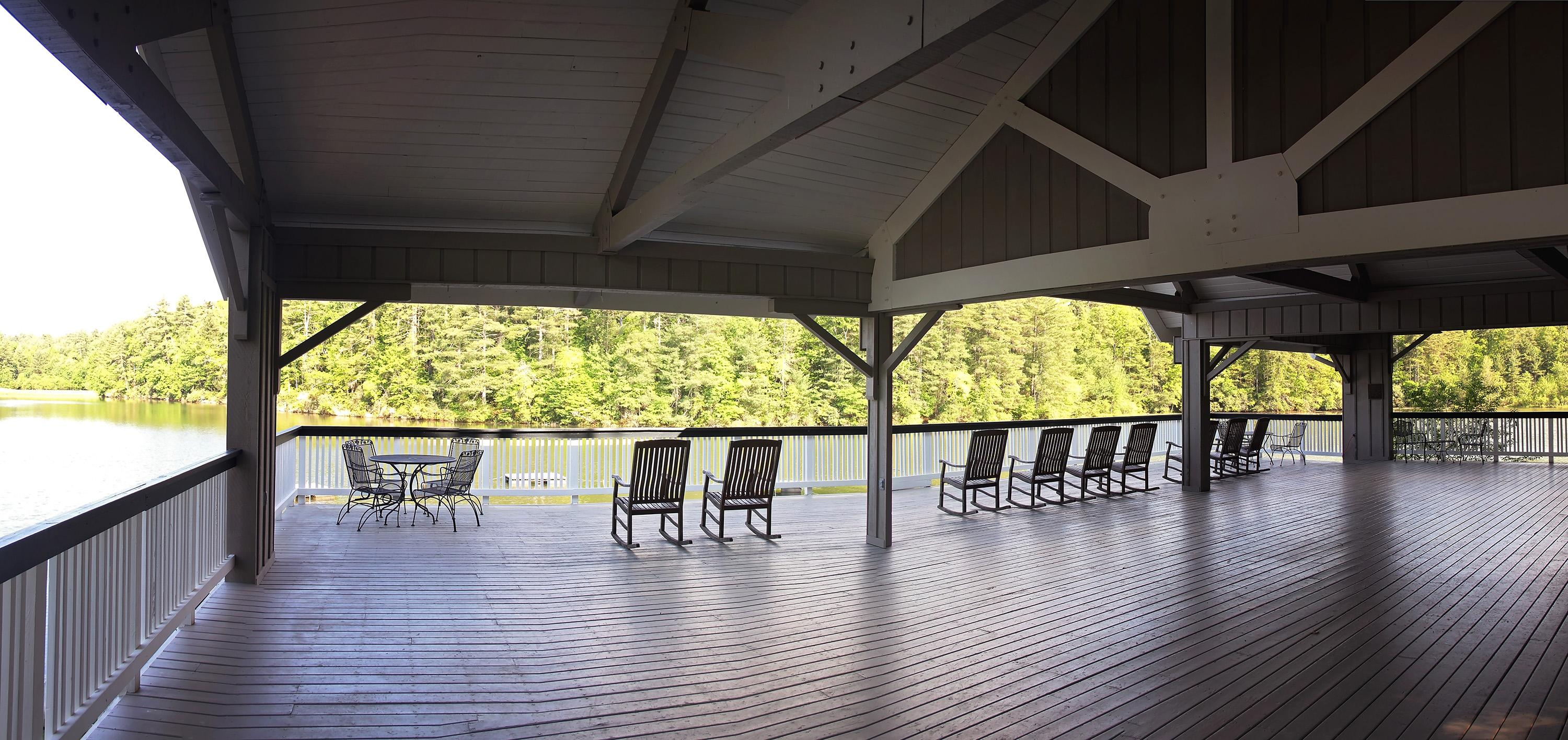 "A view of the Cuningham-Nevious Pavilion at the Kanuga Conference and Retreat Center in May 2017.  Kanuga was used as a filming location for ABC's remake of ""Dirty Dancing"" in 2016. The mambo scene, as scene in the movie's trailer, was filmed at the pavilion. (Photo credit: WLOS Staff)"