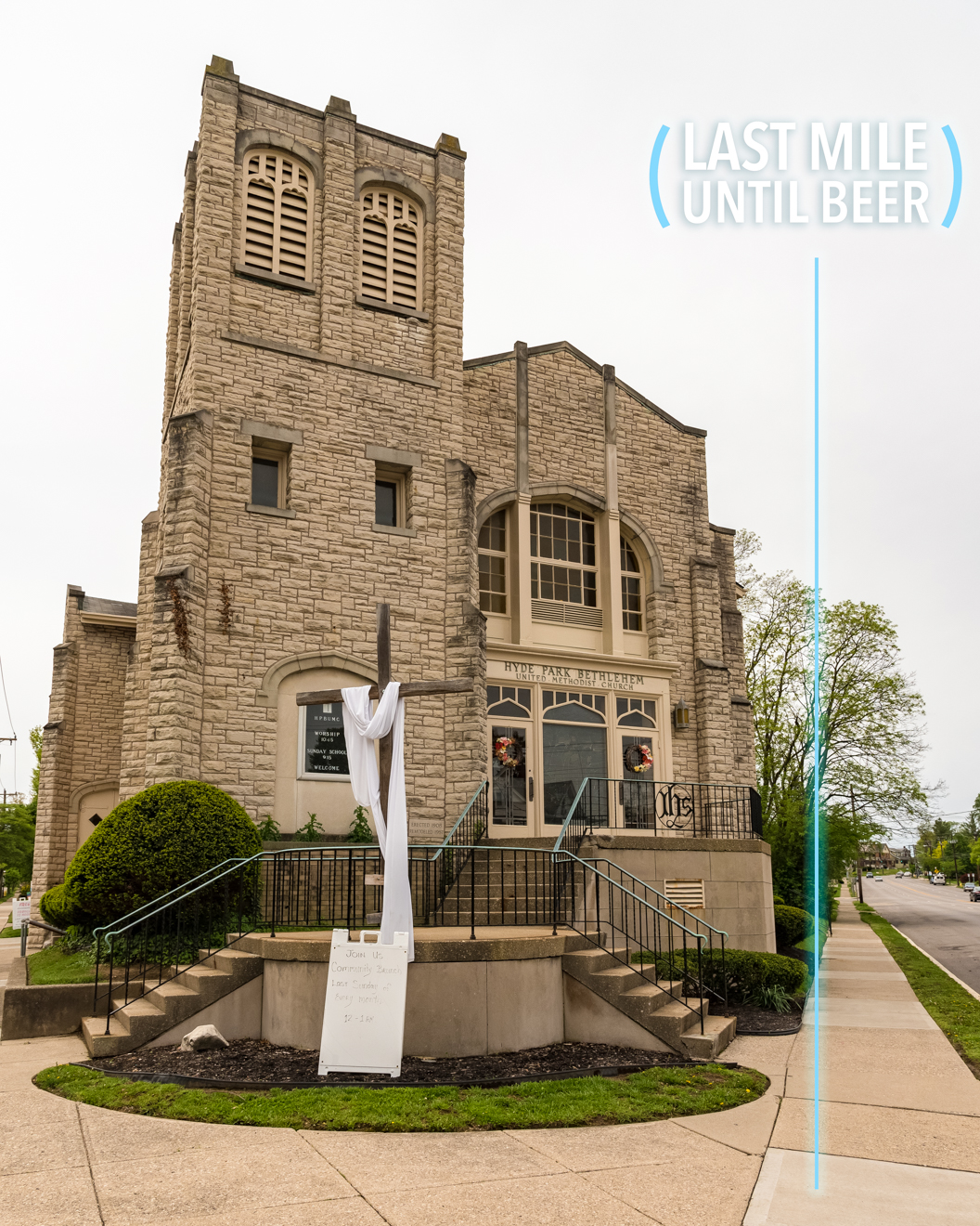 When Madison Road intersects with Hyde Park Avenue, you'll notice a church on the corner. This marks your last mile until you get to MadTree! / Image: Phil Armstrong, Cincinnati Refined // Published: 4.25.17