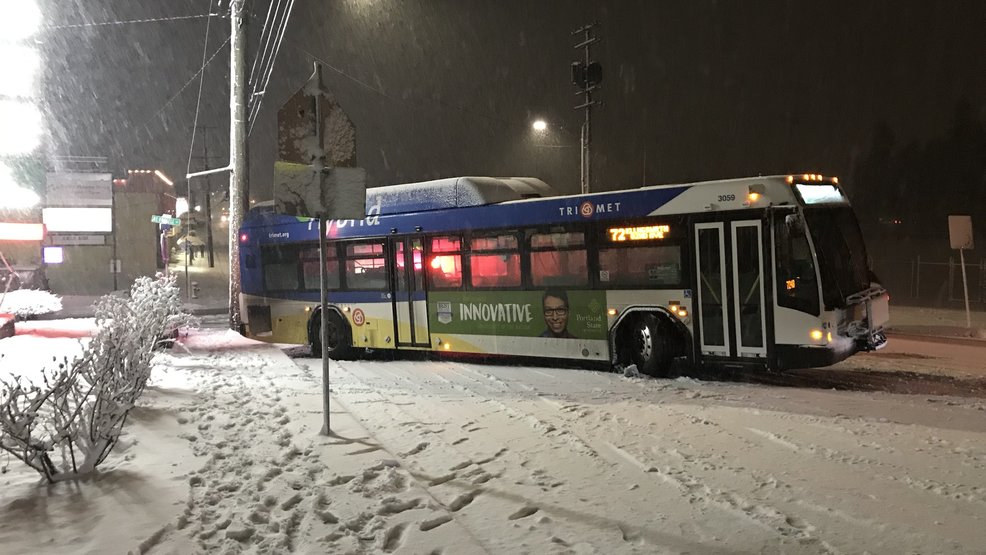 TriMet CTran cancel bus lines due to unsafe road conditions KATU
