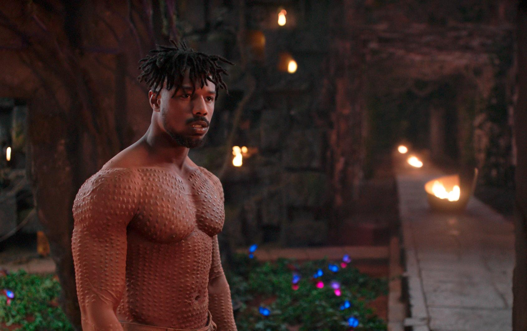 "This image released by Disney shows Michael B. Jordan in a scene from Marvel Studios' ""Black Panther."" The film may emerge as a major contender Tuesday, Jan. 22, 2019, when nominations to the 91st Oscars are announced. (Marvel Studios-Disney via AP)"