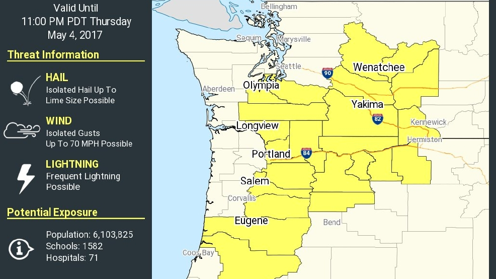 Severe Thunderstorm Watch issued for Western Oregon | KPIC