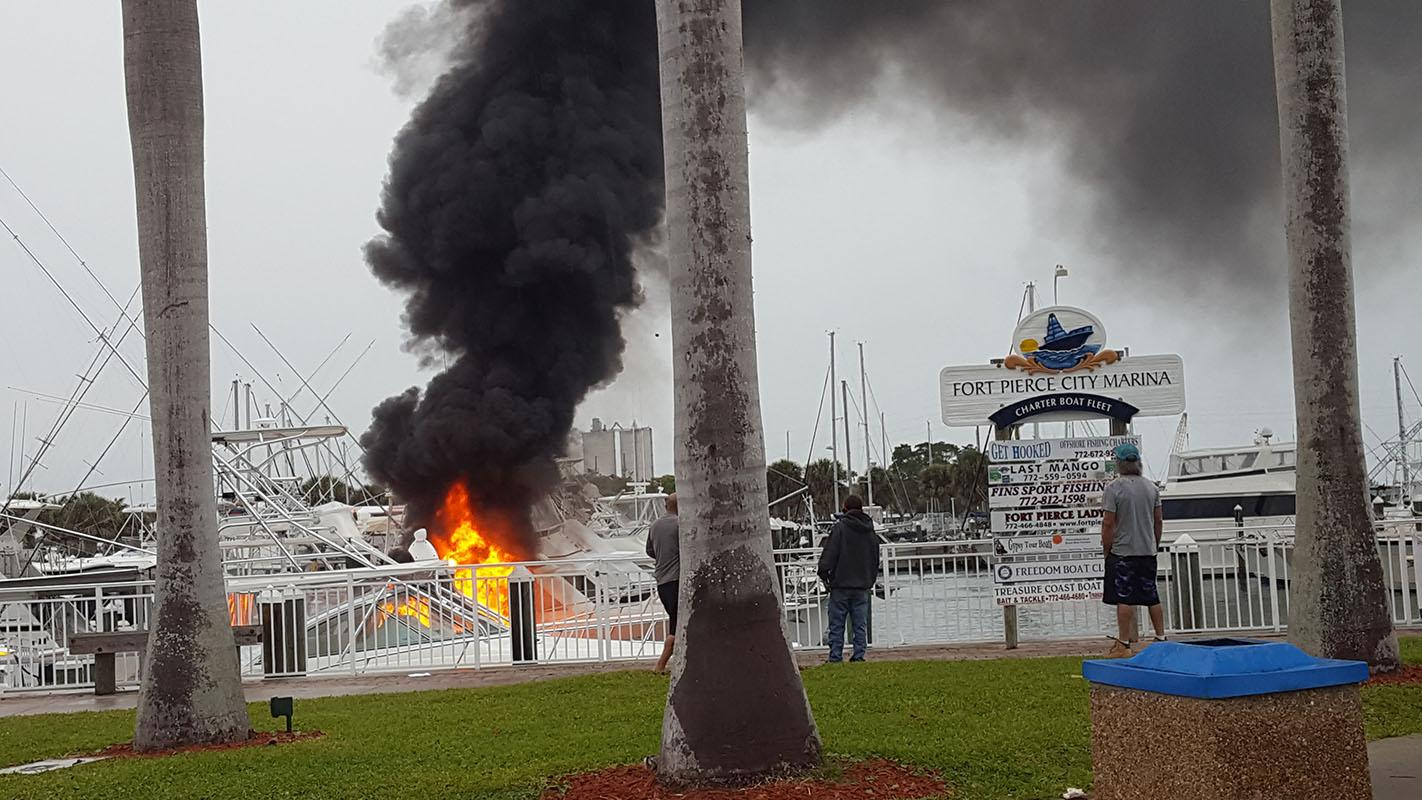 A boat caught fire in the Fort Pierce City Marina on Saturday. (Courtesy: Kathy Dunn)
