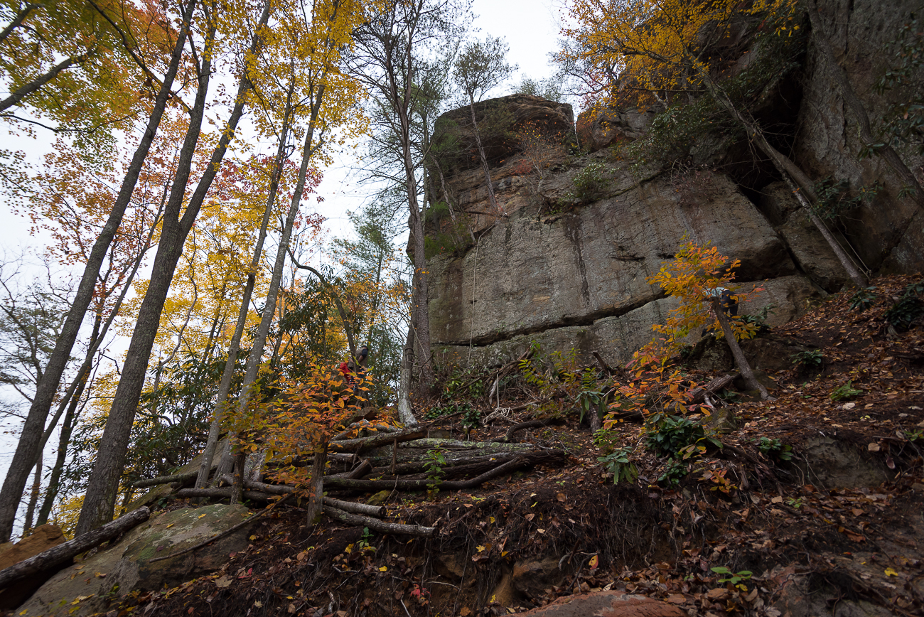 Rock climbers can quickly hike up the hill from Moss Rock to enjoy several areas where they can scale cliffsides. / Image: Phil Armstrong, Cincinnati Refined // Published: 11.14.17<p></p>