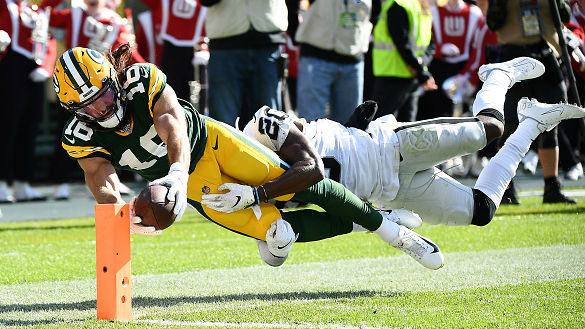 Jake Kumerow was one of five different Packers to catch a touchdown pass.