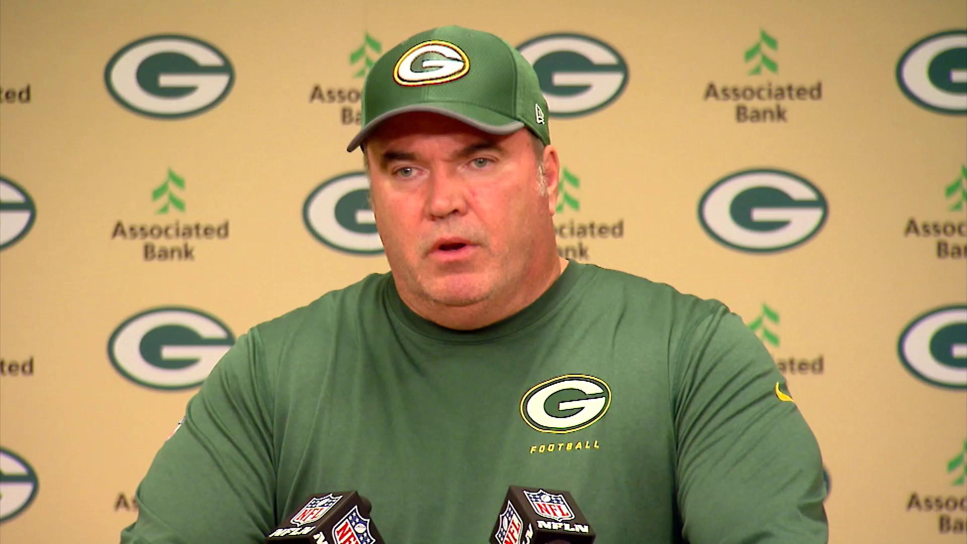 Green Bay Packers head coach Mike McCarthy discusses players' request to have fans lock arms during the playing of the national anthem before the Sept. 28, 2017 game at Lambeau Field. (WLUK)Thumbnail