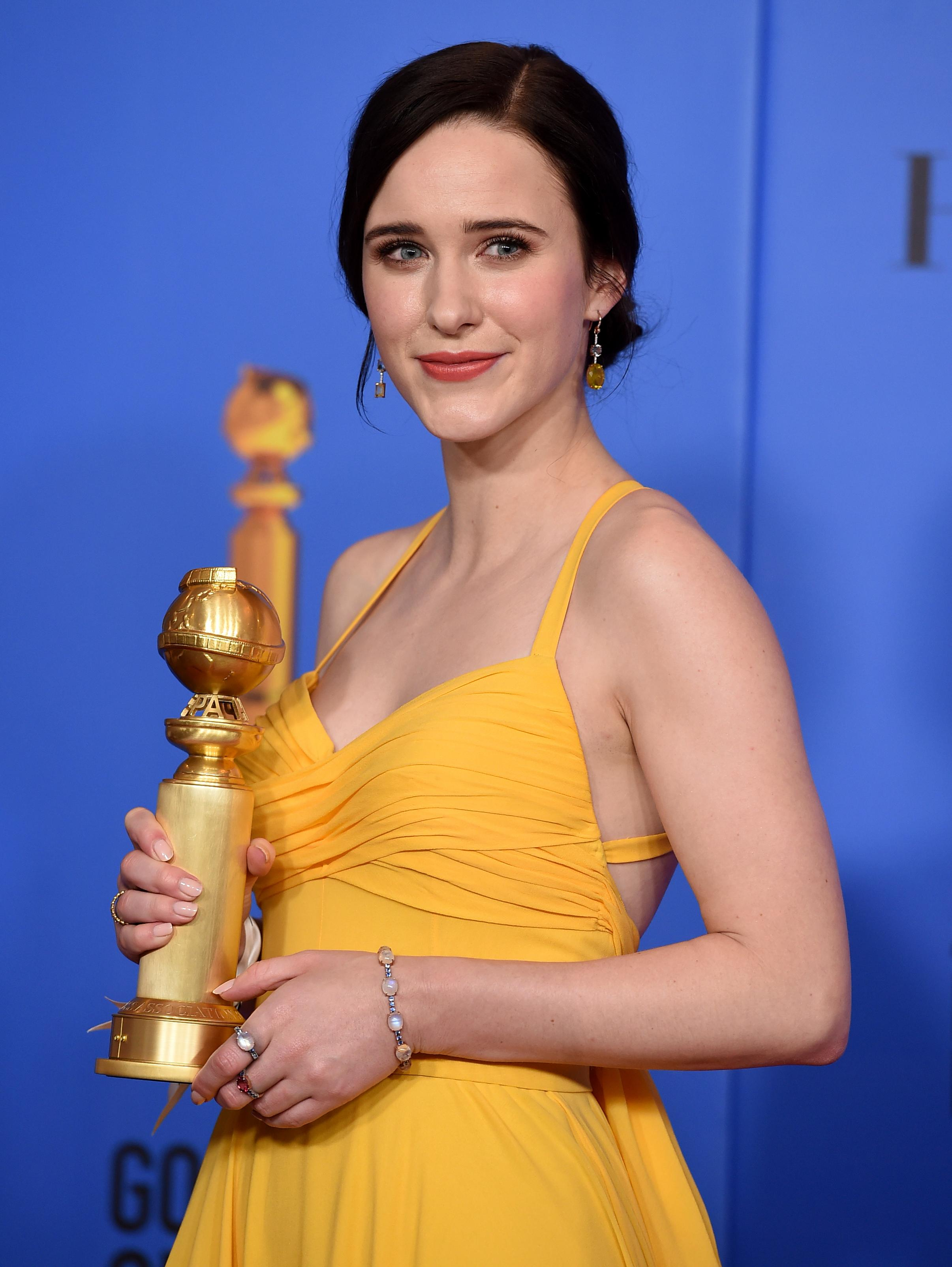 "Rachel Brosnahan poses in the press room with the award for best performance by an actress in a television series, musical or comedy for ""The Marvelous Mrs. Maisel"" at the 76th annual Golden Globe Awards at the Beverly Hilton Hotel on Sunday, Jan. 6, 2019, in Beverly Hills, Calif. (Photo by Jordan Strauss/Invision/AP)"