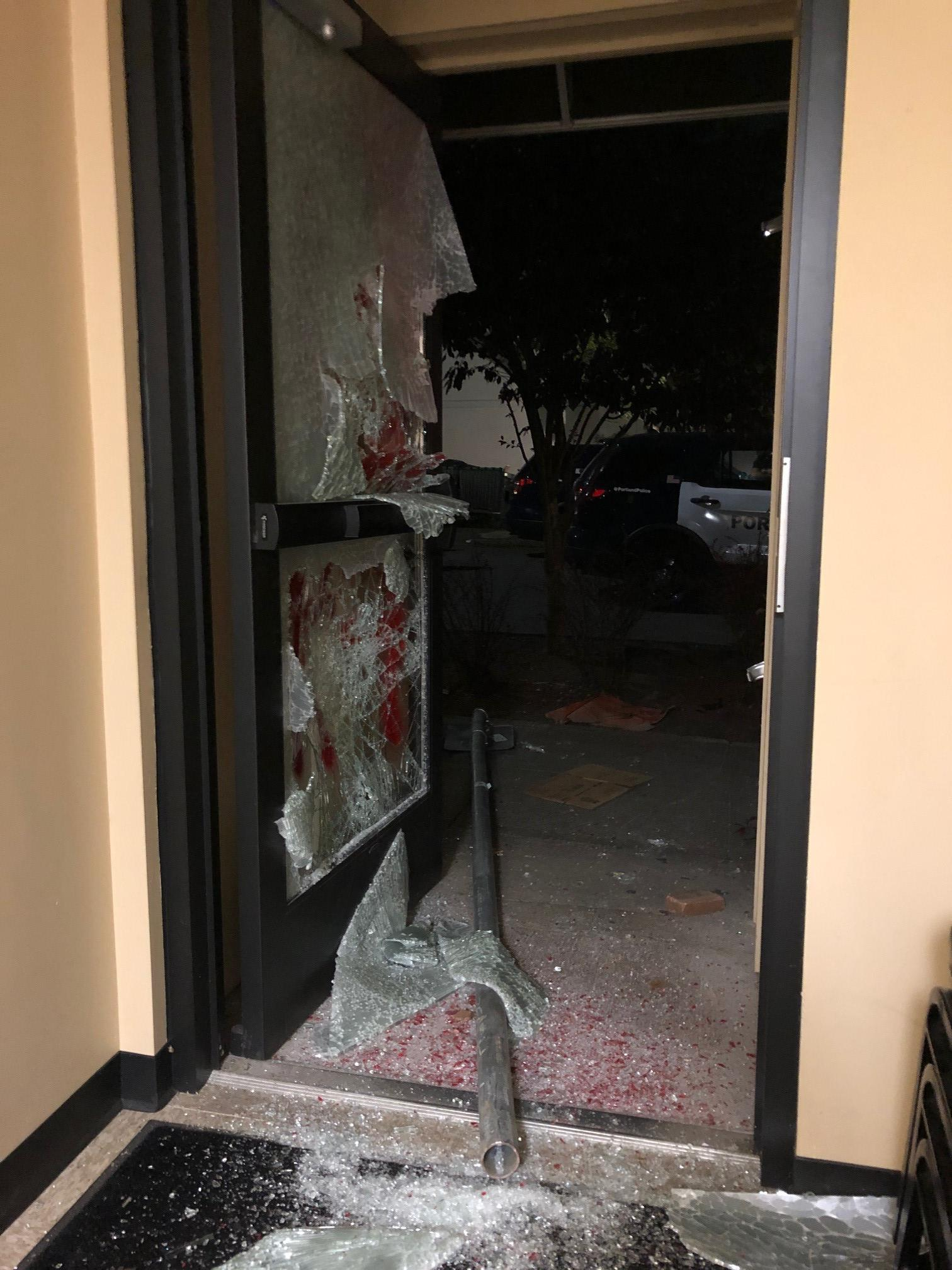 Photo shows damage to the Portland Police Association office building after a protest that started on August 4, 2020. Police said protesters broke into the building and set it on fire. Photo courtesy Portland Police Bureau