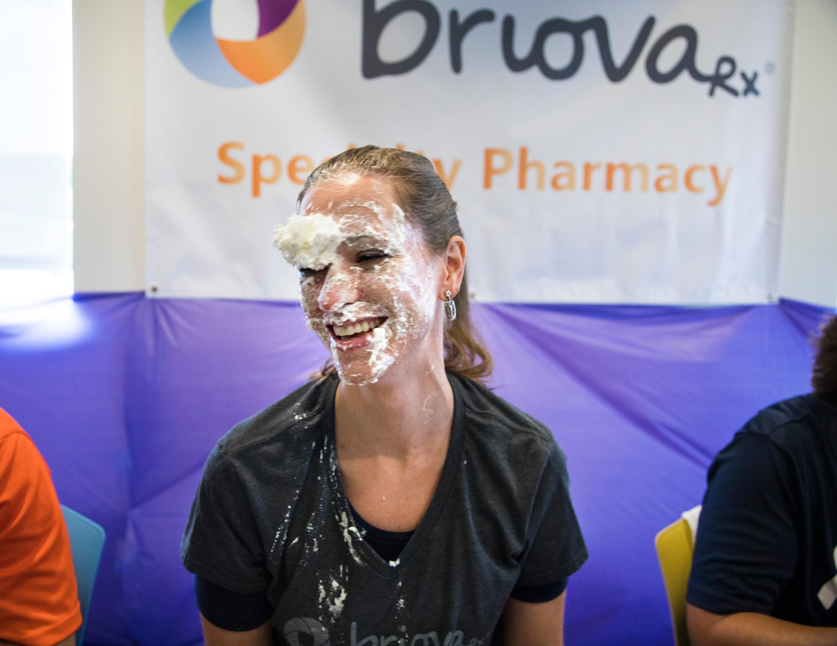 OptumRx Pharmacy Director Jaclyn Latteri is pied in the face Wednesday, July 26, 2017, by employees to raise funds for the Southern Nevada Chapter of the Leukemia & Lymphoma Society and recruit people to participate in its 2017 Light the Night Walk in November. (Photo courtesy of Jeff Scheid)
