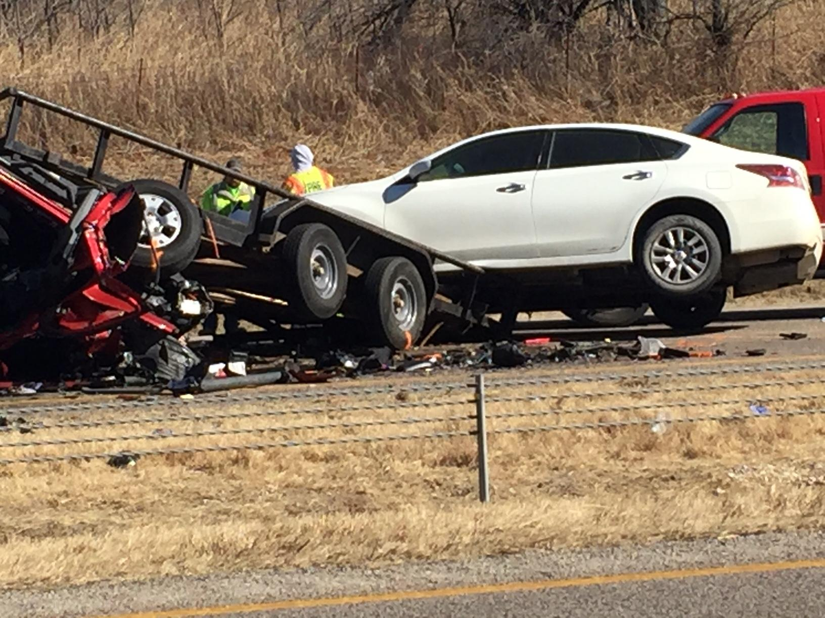 One person died following a crash Jan. 29 on I-35 north of Goldsby. (KOKH/Scott Noland)