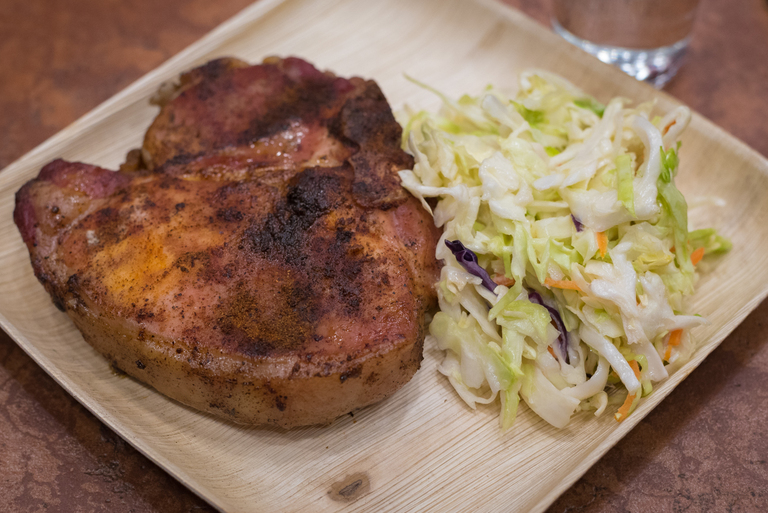 Smoked Bone-In Chop: 14-ounce porterhouse pork chop served with coleslaw / Image: Phil Armstrong, Cincinnati Refined: 4.12.18