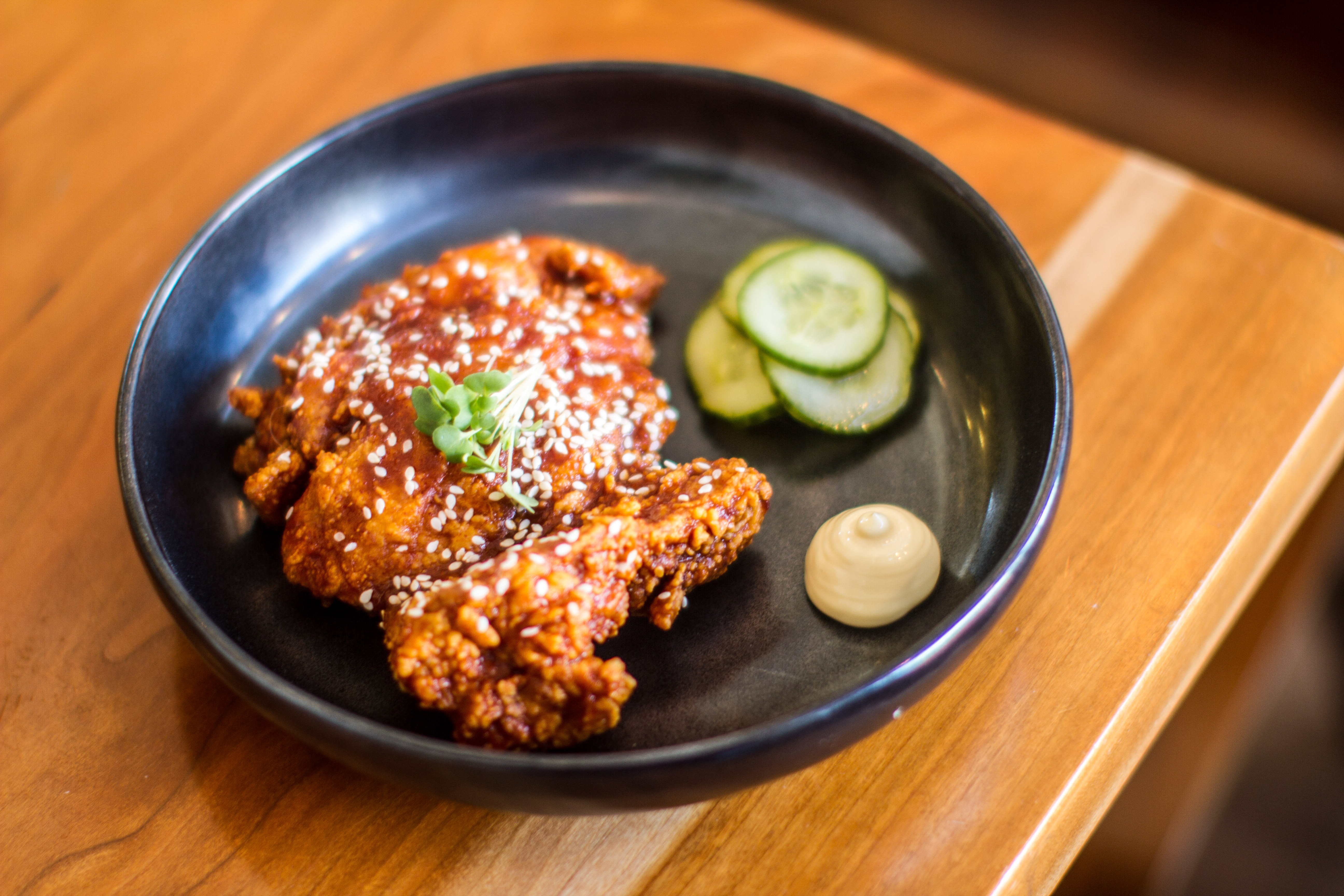 &quot;We are still talking about the gochujang glazed, sesame seed speckled karaage chicken that was intensely crunchy and yet so very juicy.&quot; (Image: Farrah Skeiky)<p></p>